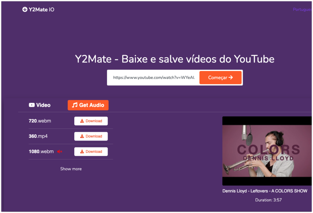 como baixar vídeos do YouTube com Y2Mate
